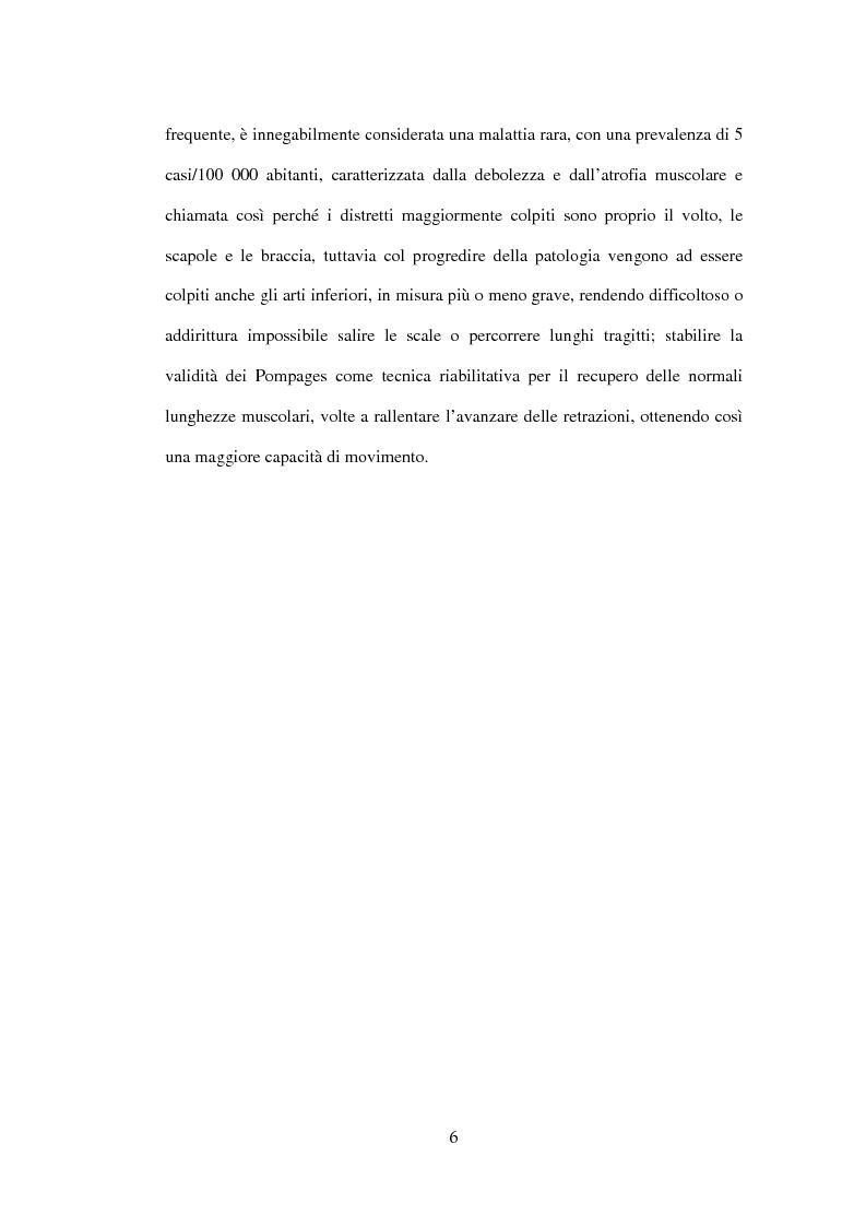 Anteprima della tesi: Efficacia del Pompage nel trattamento riabilitativo delle Distrofie Facio Scapolo Omerali, Pagina 3