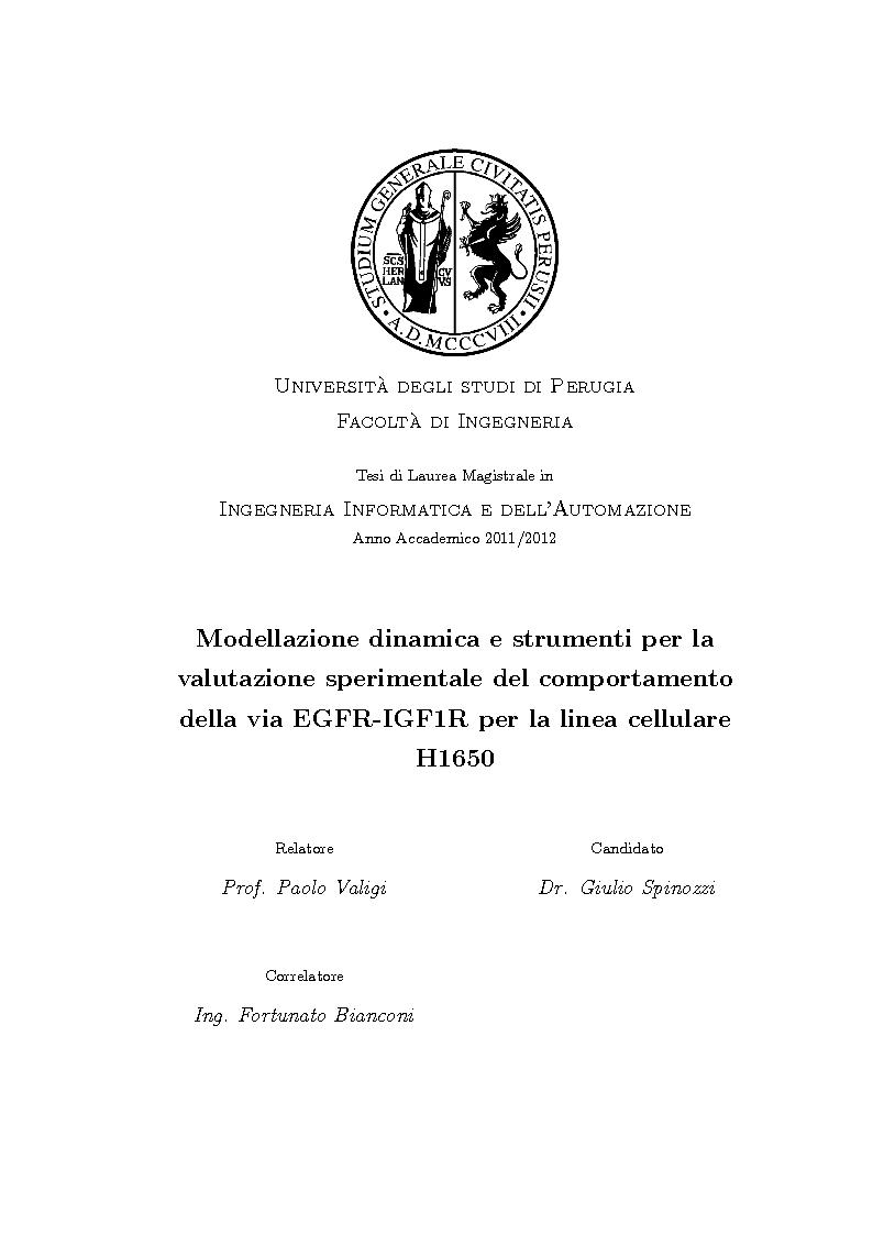 Anteprima della tesi: Modellazione dinamica e strumenti per la valutazione sperimentale del comportamento della via EGFR-IGF1R per la linea cellulare H1650, Pagina 1