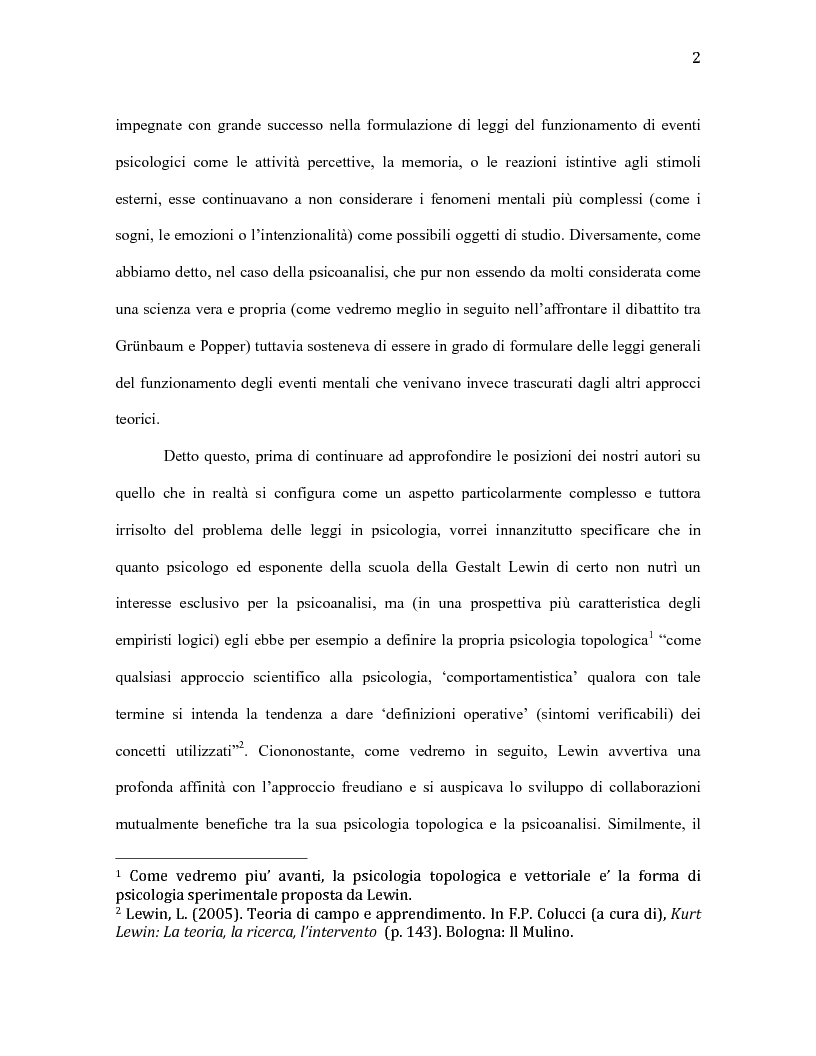 Anteprima della tesi: Il problema delle leggi in psicologia secondo Adolf Grünbaum e Kurt Lewin, Pagina 3