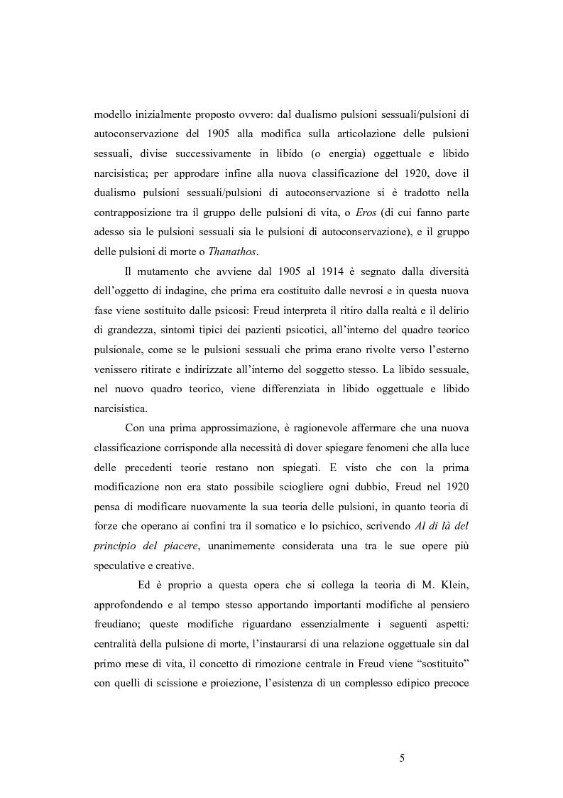 Anteprima della tesi: La revisione kleiniana e bioniana del modello pulsionale freudiano nel pensiero di Antonio Imbasciati, Pagina 4