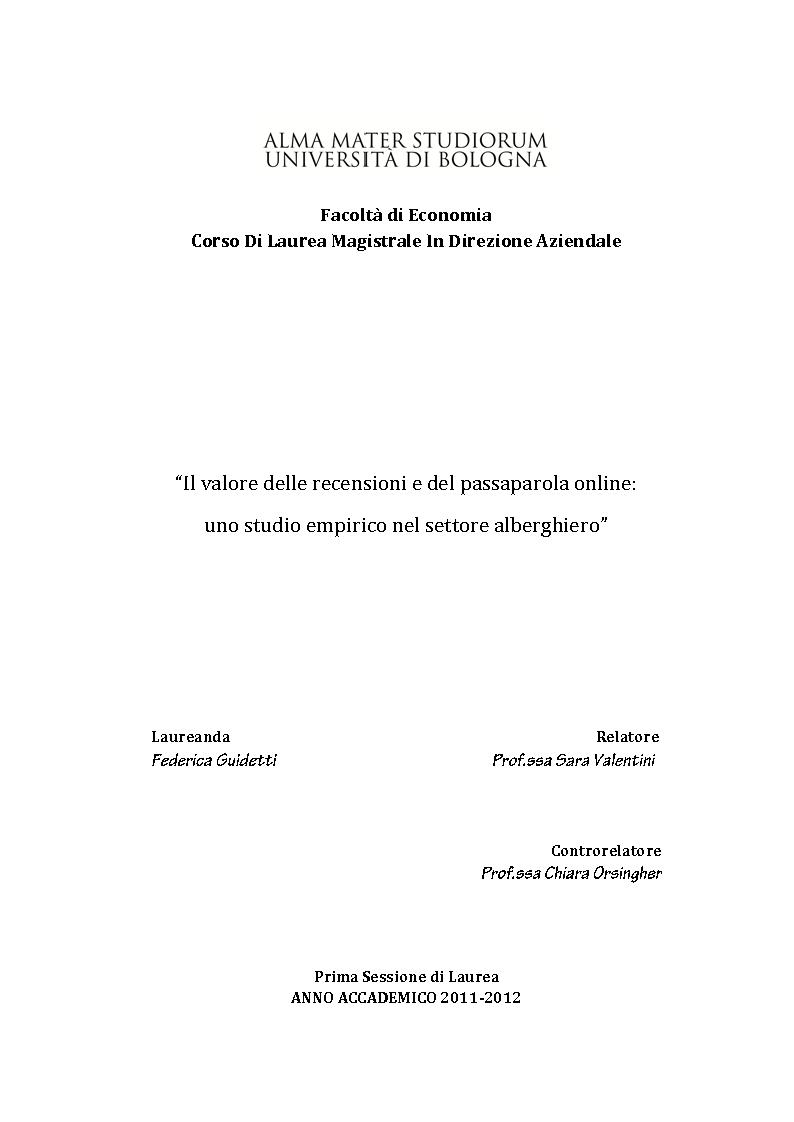 Anteprima della tesi: Il valore delle recensioni e del passaparola online: uno studio empirico nel settore alberghiero, Pagina 1