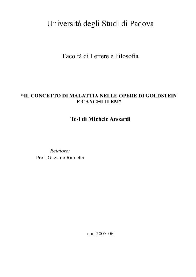 Anteprima della tesi: Il concetto di malattia nelle opere di Goldstein e Canghuilem, Pagina 1