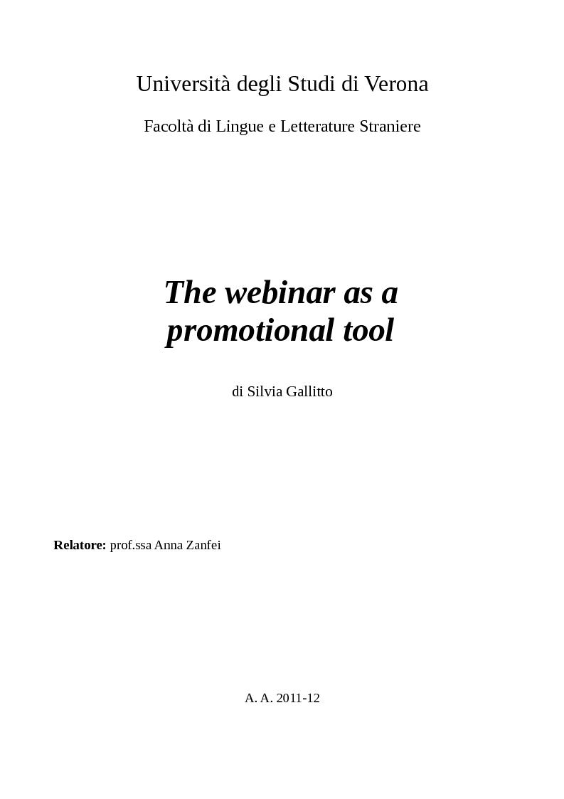 Anteprima della tesi: The webinar as a promotional tool, Pagina 1