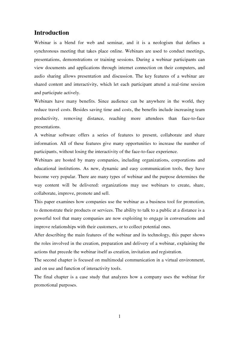 Anteprima della tesi: The webinar as a promotional tool, Pagina 2