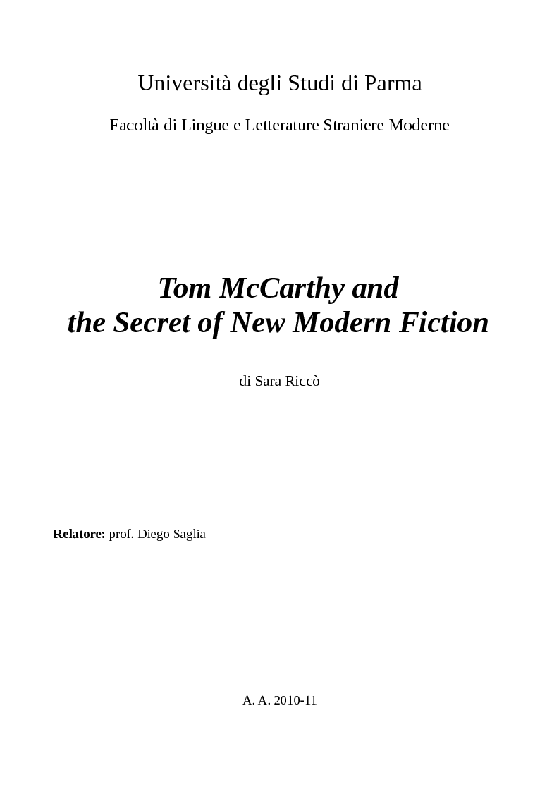 Anteprima della tesi: Tom McCarthy and the Secret of New Modern Fiction, Pagina 1