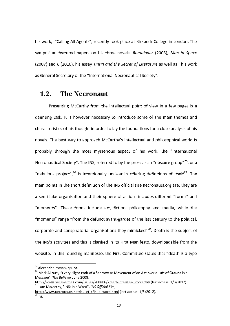Anteprima della tesi: Tom McCarthy and the Secret of New Modern Fiction, Pagina 10