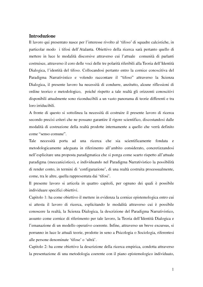Anteprima della tesi: La teoria dell'identità dialogica e il tifoso calcistico: analisi delle produzioni discorsive dei tifosi dell'Atalanta.  , Pagina 2