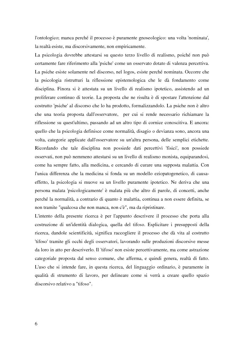 Anteprima della tesi: La teoria dell'identità dialogica e il tifoso calcistico: analisi delle produzioni discorsive dei tifosi dell'Atalanta.  , Pagina 7