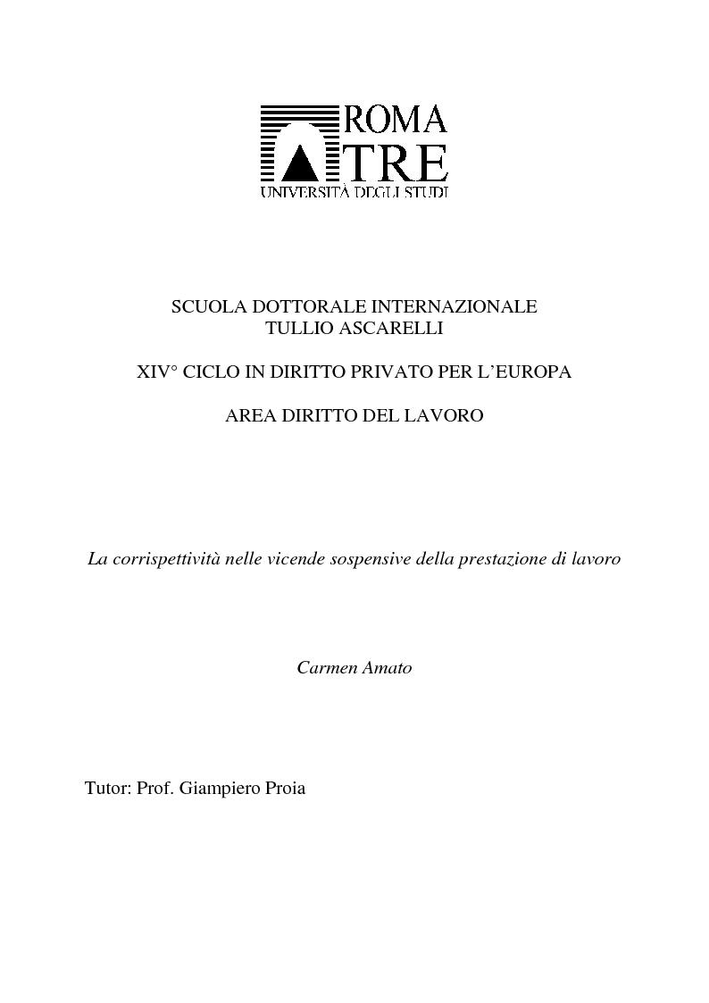 Anteprima della tesi: La corrispettività nelle vicende sospensive della prestazione di lavoro, Pagina 1