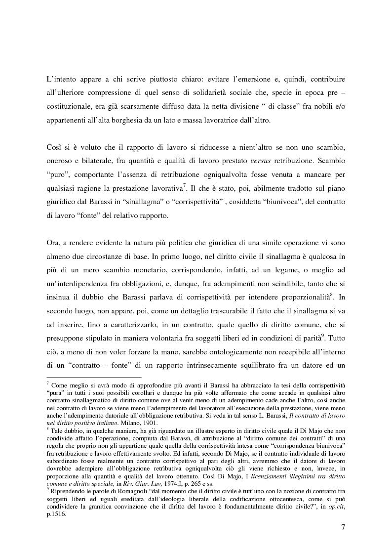 Anteprima della tesi: La corrispettività nelle vicende sospensive della prestazione di lavoro, Pagina 3