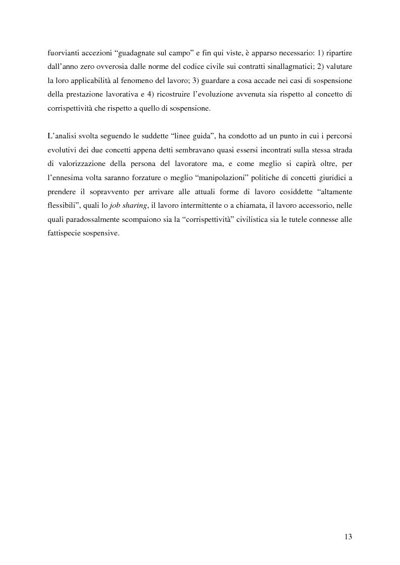 Anteprima della tesi: La corrispettività nelle vicende sospensive della prestazione di lavoro, Pagina 9