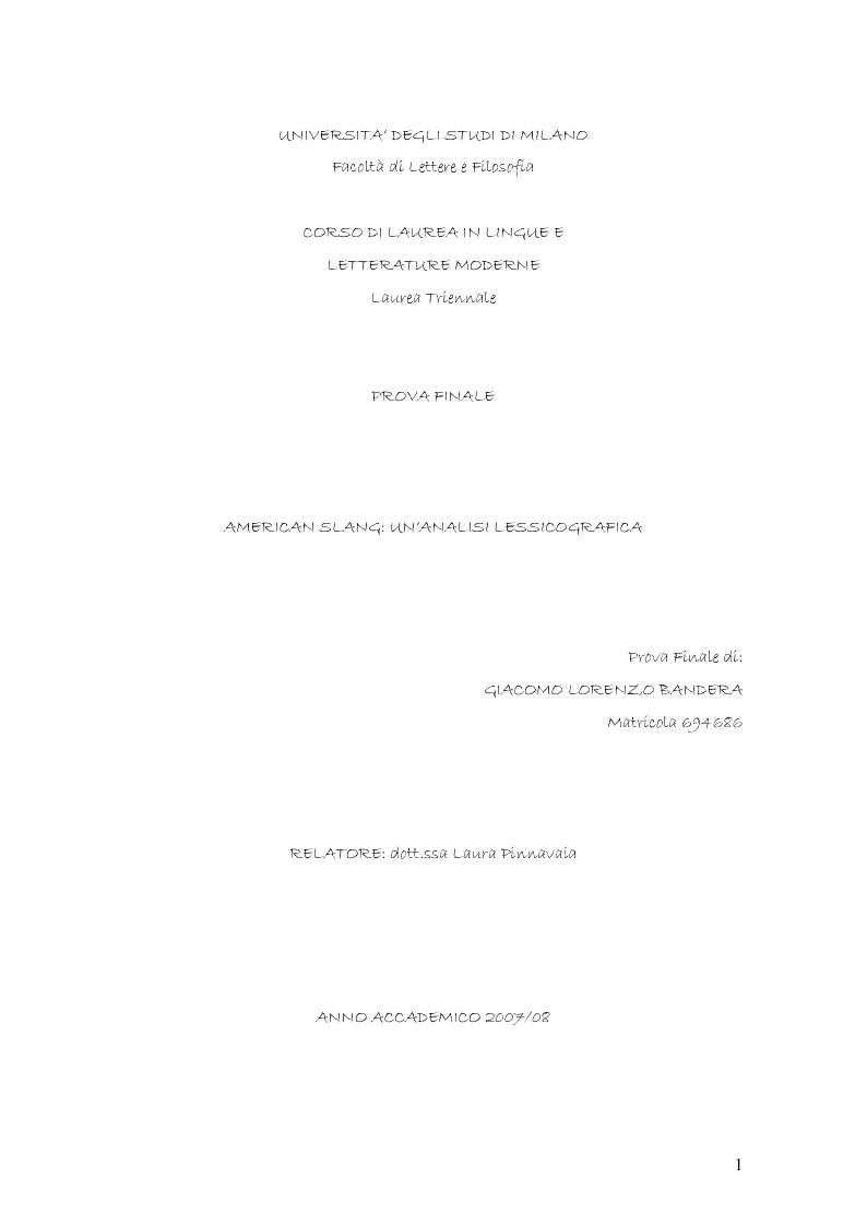 Anteprima della tesi: Lo Slang Americano: un'analisi lessicografica, Pagina 1
