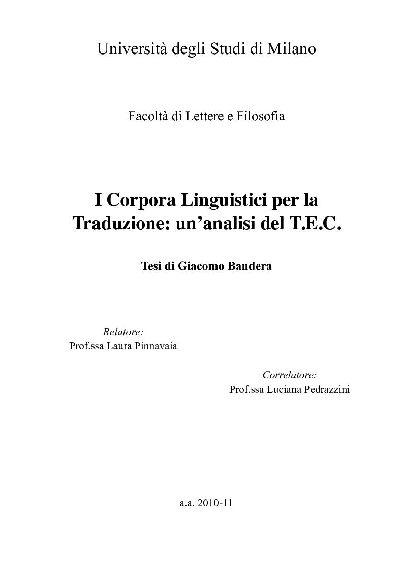 Anteprima della tesi: I Corpora Linguistici per la Traduzione: Un'Analisi del T.E.C., Pagina 1