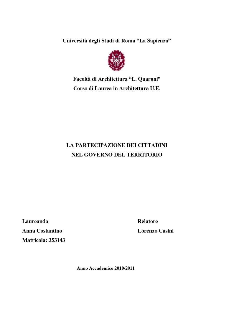 Anteprima della tesi: La partecipazione dei cittadini nel governo del territorio, Pagina 1