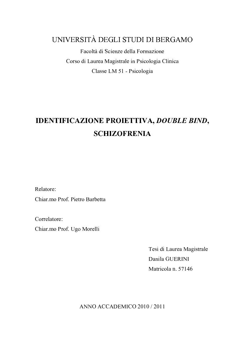Anteprima della tesi: Identificazione proiettiva, double bind, schizofrenia, Pagina 1