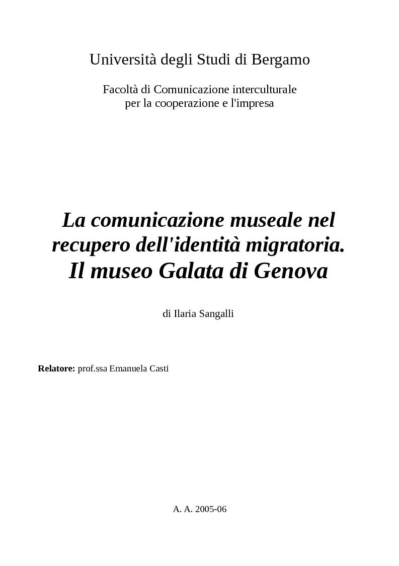 Anteprima della tesi: La comunicazione museale nel recupero dell'identità migratoria. Il museo Galata di Genova., Pagina 1