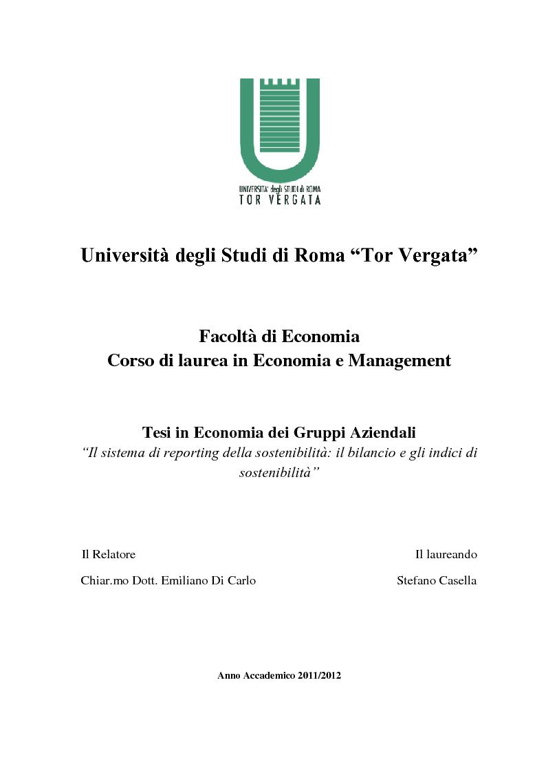 Anteprima della tesi: Il sistema di reporting della sostenibilità: il bilancio e gli indici di sostenibilità, Pagina 1