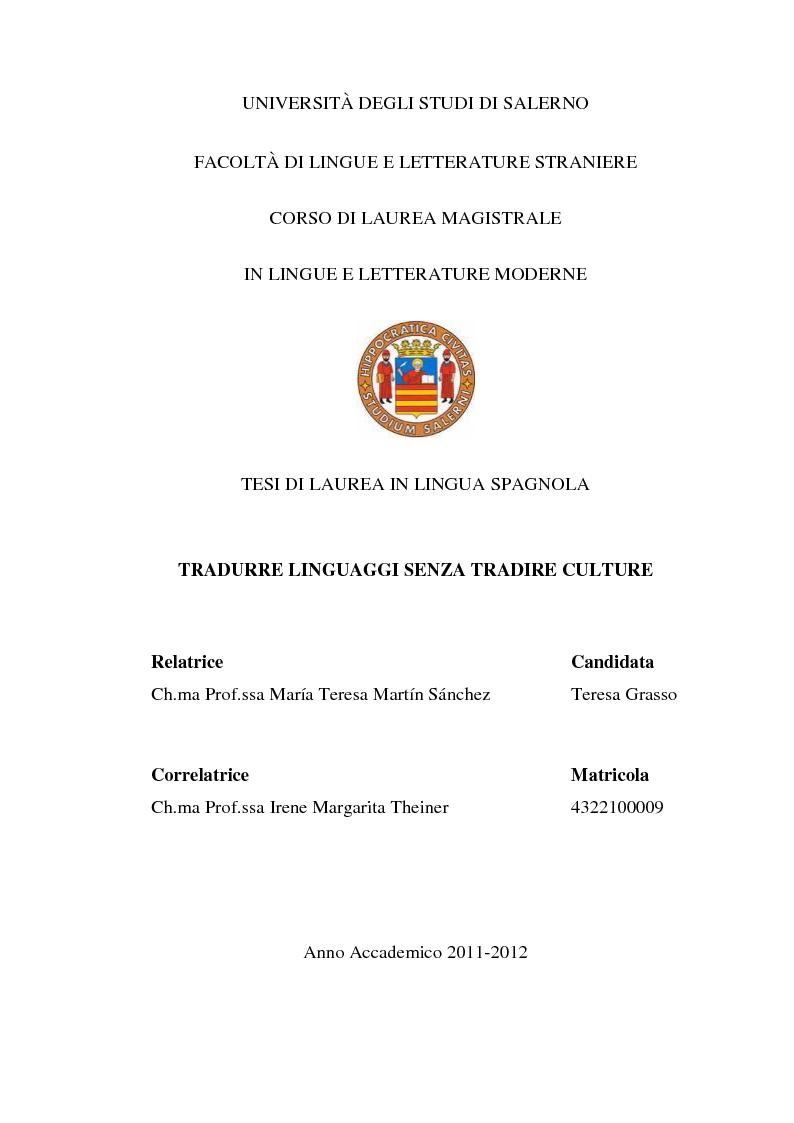 Anteprima della tesi: Tradurre linguaggi senza tradire culture, Pagina 1