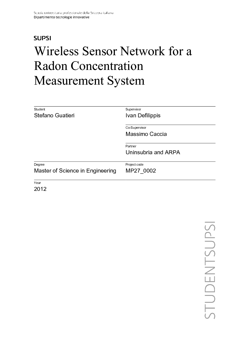 Anteprima della tesi: Wireless Sensor Network fo a Radon Concentration Measurement System, Pagina 1