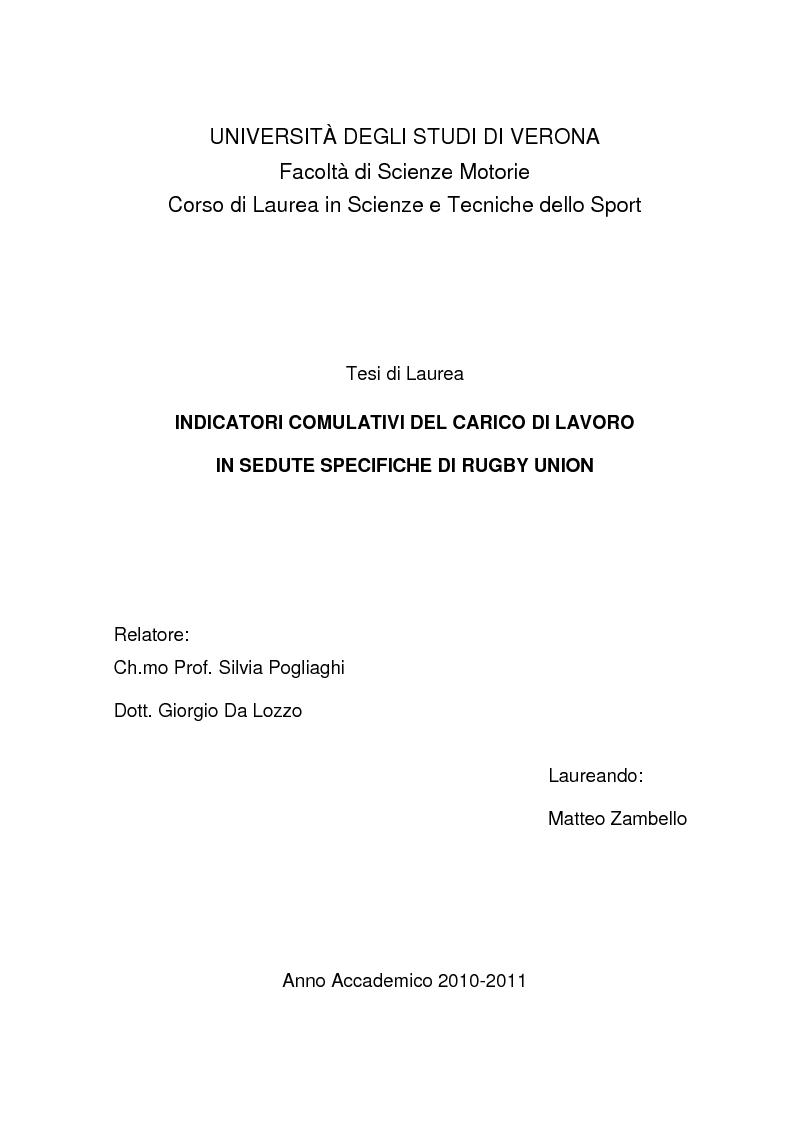 Anteprima della tesi: Indicatori comulativi del carico di lavoro in sedute specifiche di Rugby Union, Pagina 1