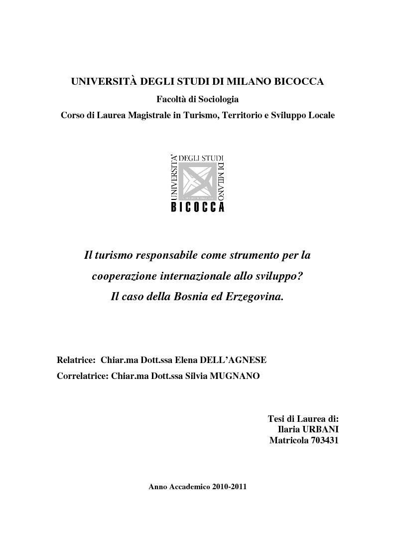 Anteprima della tesi: Il turismo responsabile come strumento per la cooperazione internazionale allo sviluppo? Il caso della Bosnia ed Erzegovina, Pagina 1