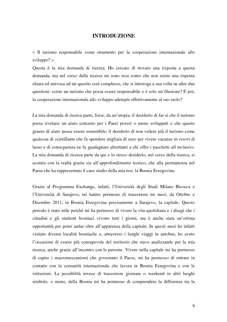 Anteprima della tesi: Il turismo responsabile come strumento per la cooperazione internazionale allo sviluppo? Il caso della Bosnia ed Erzegovina, Pagina 2