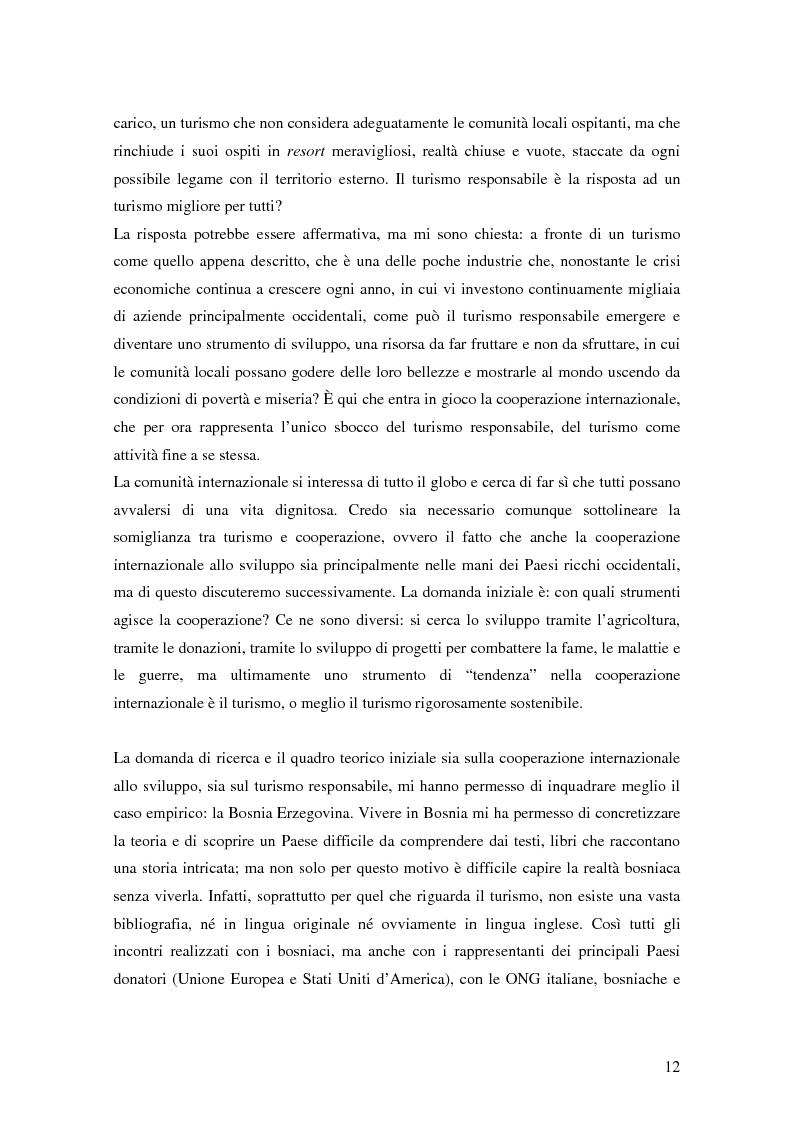 Anteprima della tesi: Il turismo responsabile come strumento per la cooperazione internazionale allo sviluppo? Il caso della Bosnia ed Erzegovina, Pagina 5