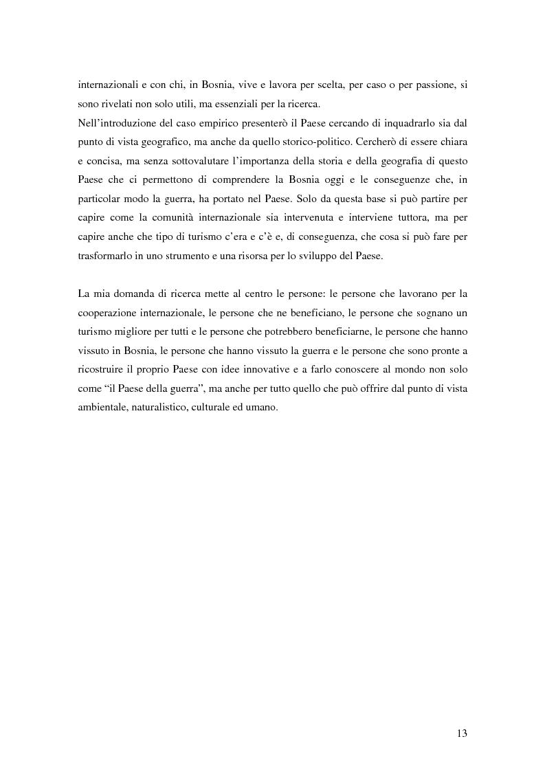 Anteprima della tesi: Il turismo responsabile come strumento per la cooperazione internazionale allo sviluppo? Il caso della Bosnia ed Erzegovina, Pagina 6