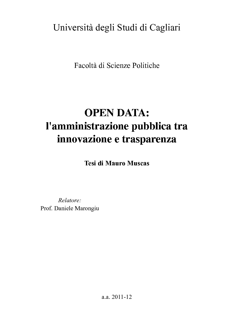 Anteprima della tesi: Open Data: l'amministrazione pubblica tra innovazione e trasparenza, Pagina 1