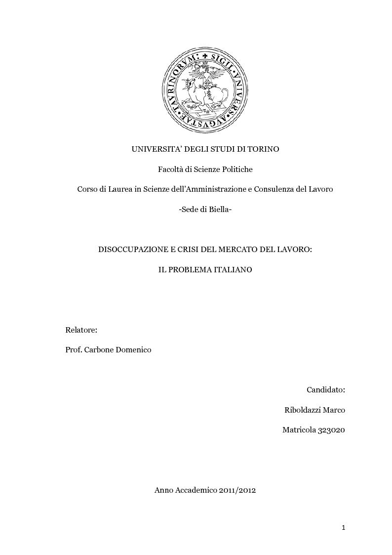 Anteprima della tesi: Disoccupazione e crisi del mercato del lavoro: il problema italiano, Pagina 1