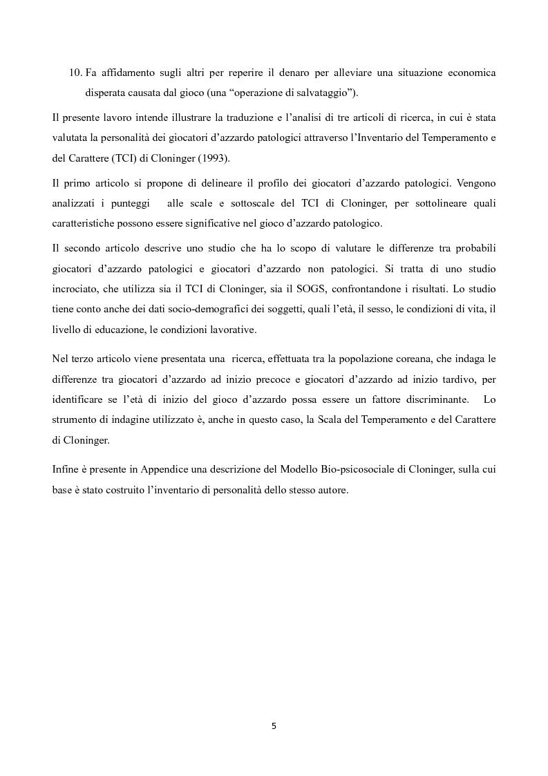 Anteprima della tesi: Temperamento e Carattere nel Gioco d'Azzardo Patologico, Pagina 3