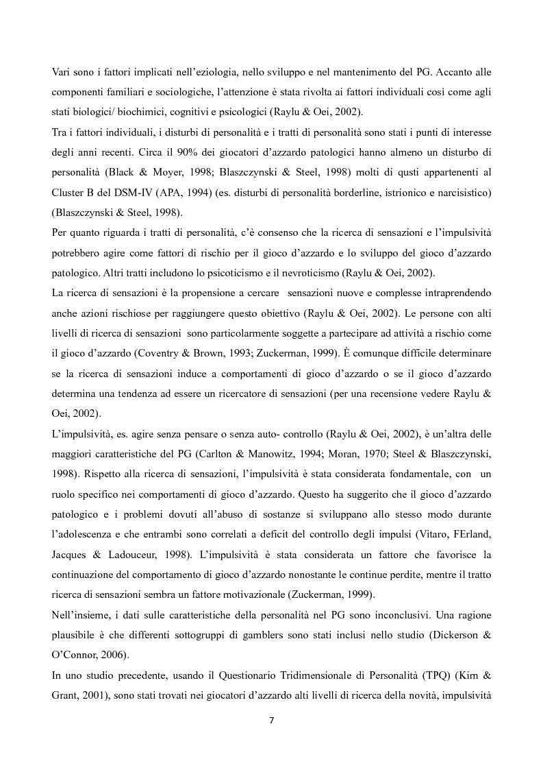 Anteprima della tesi: Temperamento e Carattere nel Gioco d'Azzardo Patologico, Pagina 5