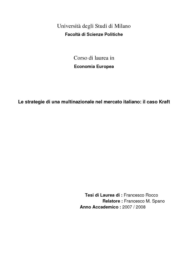 Anteprima della tesi: Le strategie di una multinazionale nel mercato italiano: il caso Kraft , Pagina 1