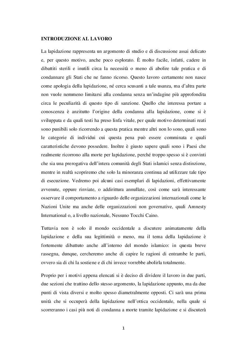 Anteprima della tesi: La lapidazione negli stati islamici, tra Corano e costituzioni moderne., Pagina 2