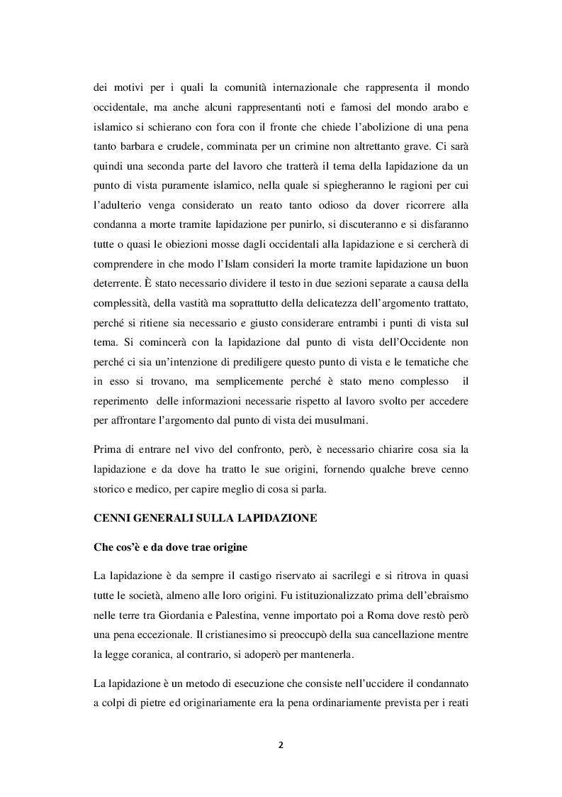 Anteprima della tesi: La lapidazione negli stati islamici, tra Corano e costituzioni moderne., Pagina 3