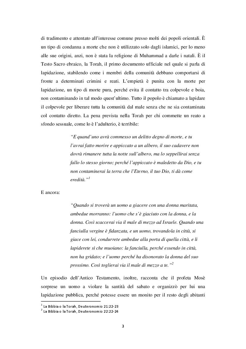 Anteprima della tesi: La lapidazione negli stati islamici, tra Corano e costituzioni moderne., Pagina 4