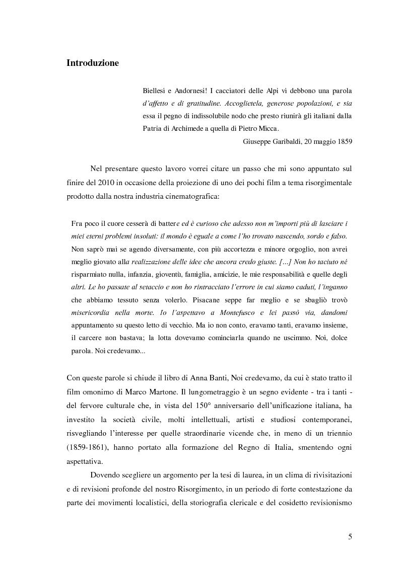 Anteprima della tesi: Memorie garibaldine nel Biellese. Cronache, testimonianze e celebrazioni nel 150° anniversario dell'Unità d'Italia, Pagina 2
