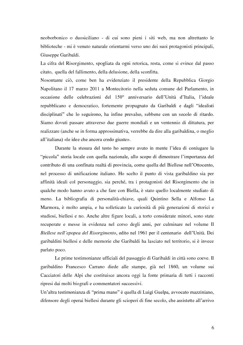 Anteprima della tesi: Memorie garibaldine nel Biellese. Cronache, testimonianze e celebrazioni nel 150° anniversario dell'Unità d'Italia, Pagina 3