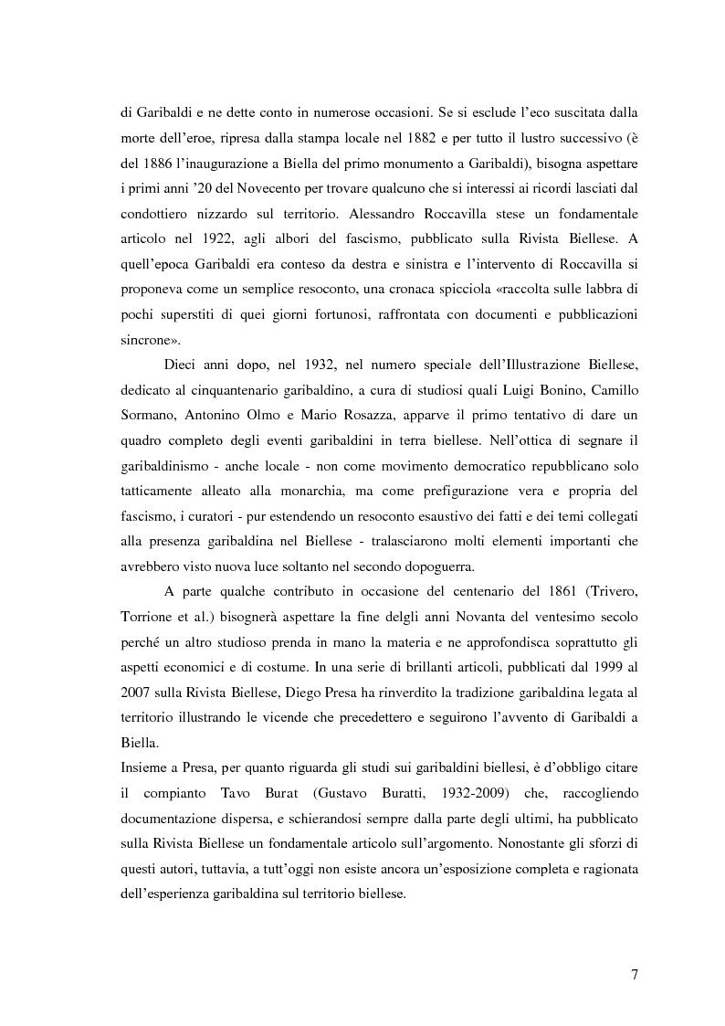 Anteprima della tesi: Memorie garibaldine nel Biellese. Cronache, testimonianze e celebrazioni nel 150° anniversario dell'Unità d'Italia, Pagina 4
