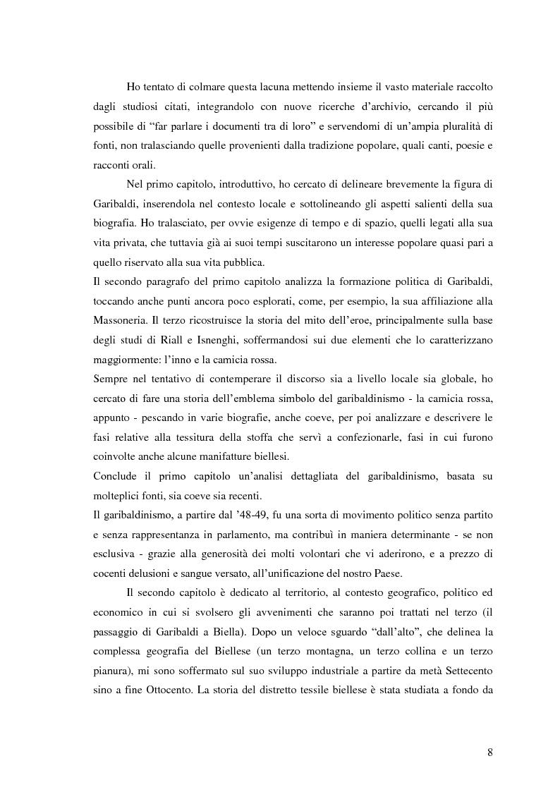 Anteprima della tesi: Memorie garibaldine nel Biellese. Cronache, testimonianze e celebrazioni nel 150° anniversario dell'Unità d'Italia, Pagina 5