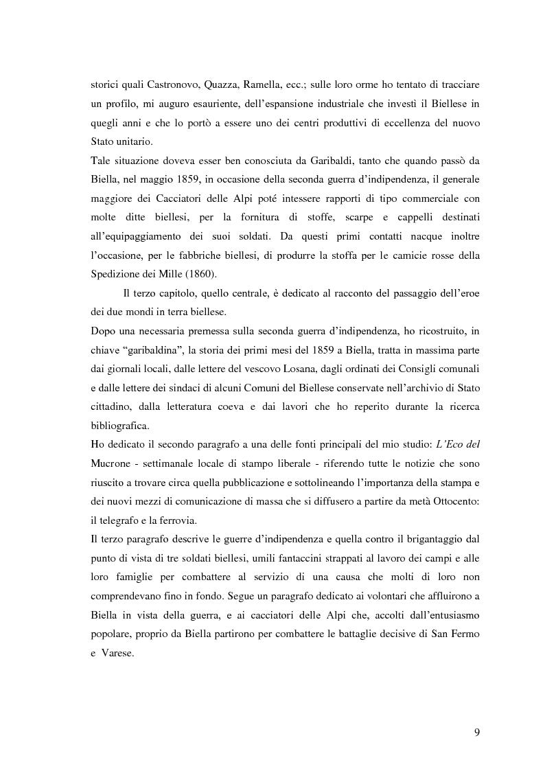 Anteprima della tesi: Memorie garibaldine nel Biellese. Cronache, testimonianze e celebrazioni nel 150° anniversario dell'Unità d'Italia, Pagina 6