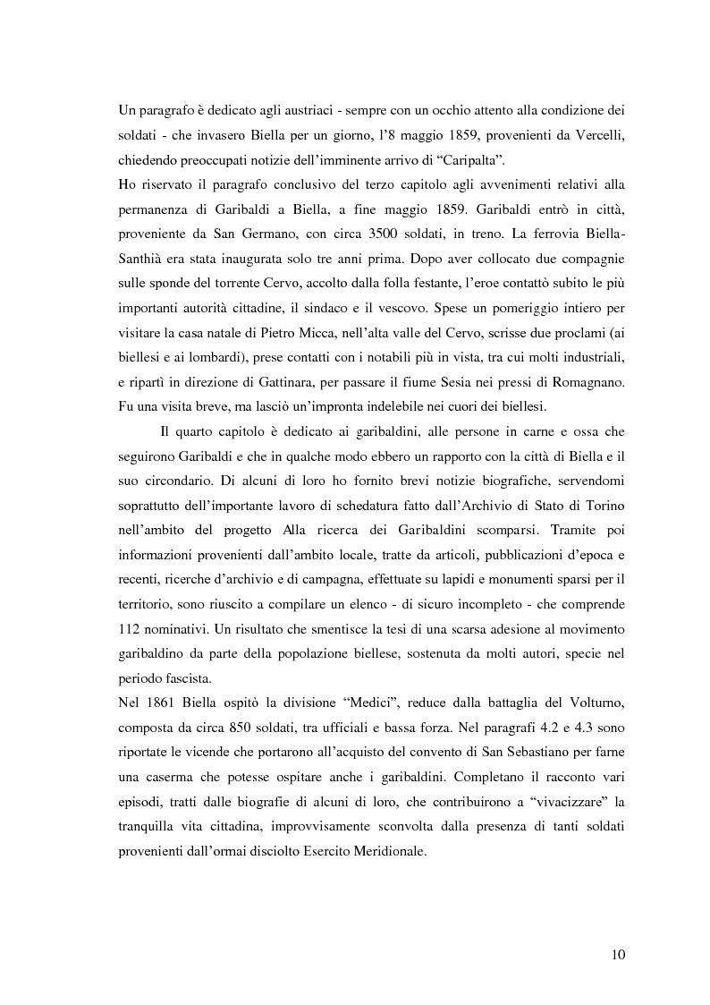 Anteprima della tesi: Memorie garibaldine nel Biellese. Cronache, testimonianze e celebrazioni nel 150° anniversario dell'Unità d'Italia, Pagina 7