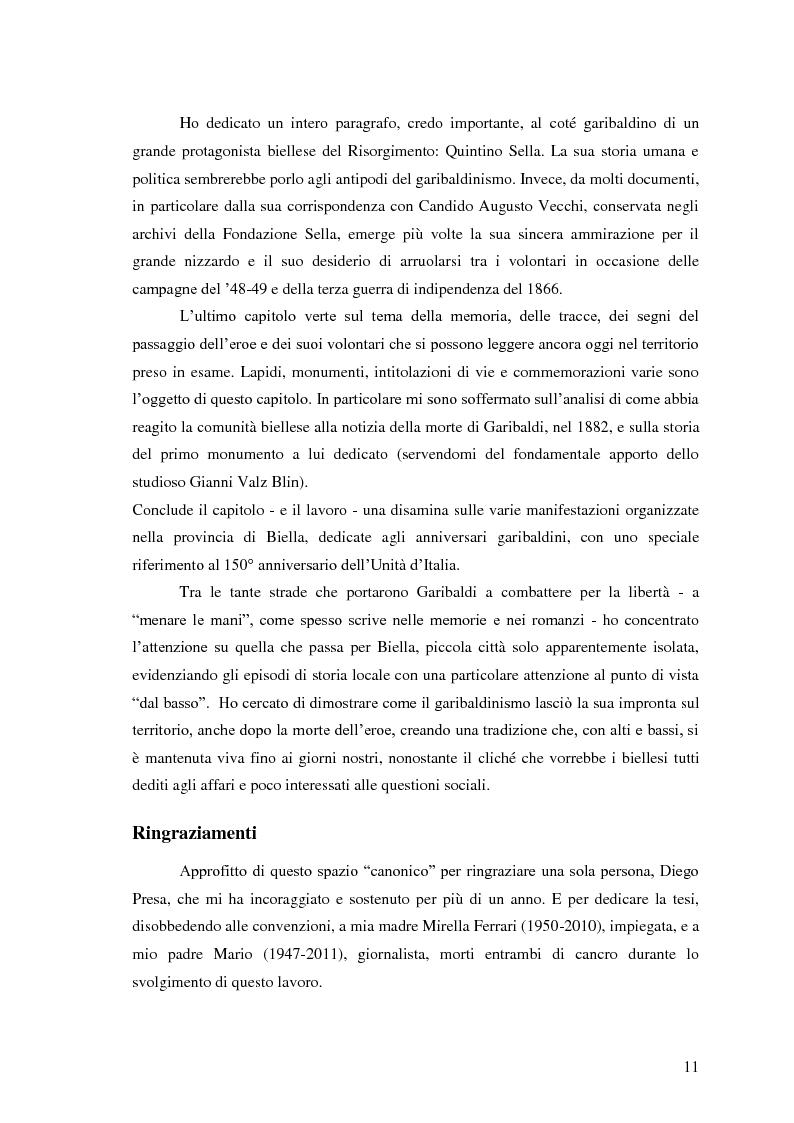 Anteprima della tesi: Memorie garibaldine nel Biellese. Cronache, testimonianze e celebrazioni nel 150° anniversario dell'Unità d'Italia, Pagina 8