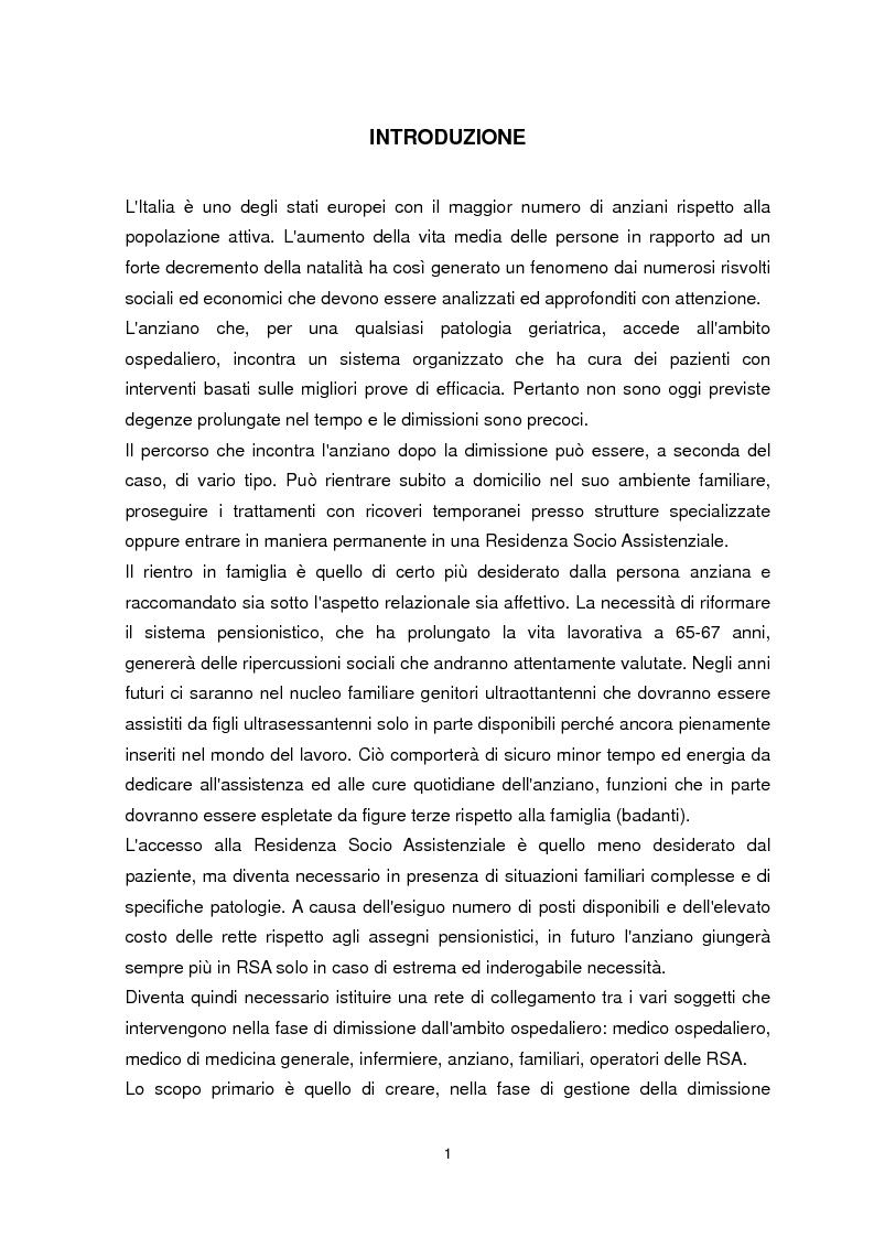 Anteprima della tesi: Dimissione protetta e continuità assistenziale: proposta di una scheda di dimissione infermieristica per il paziente anziano., Pagina 2