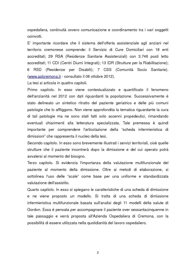Anteprima della tesi: Dimissione protetta e continuità assistenziale: proposta di una scheda di dimissione infermieristica per il paziente anziano., Pagina 3