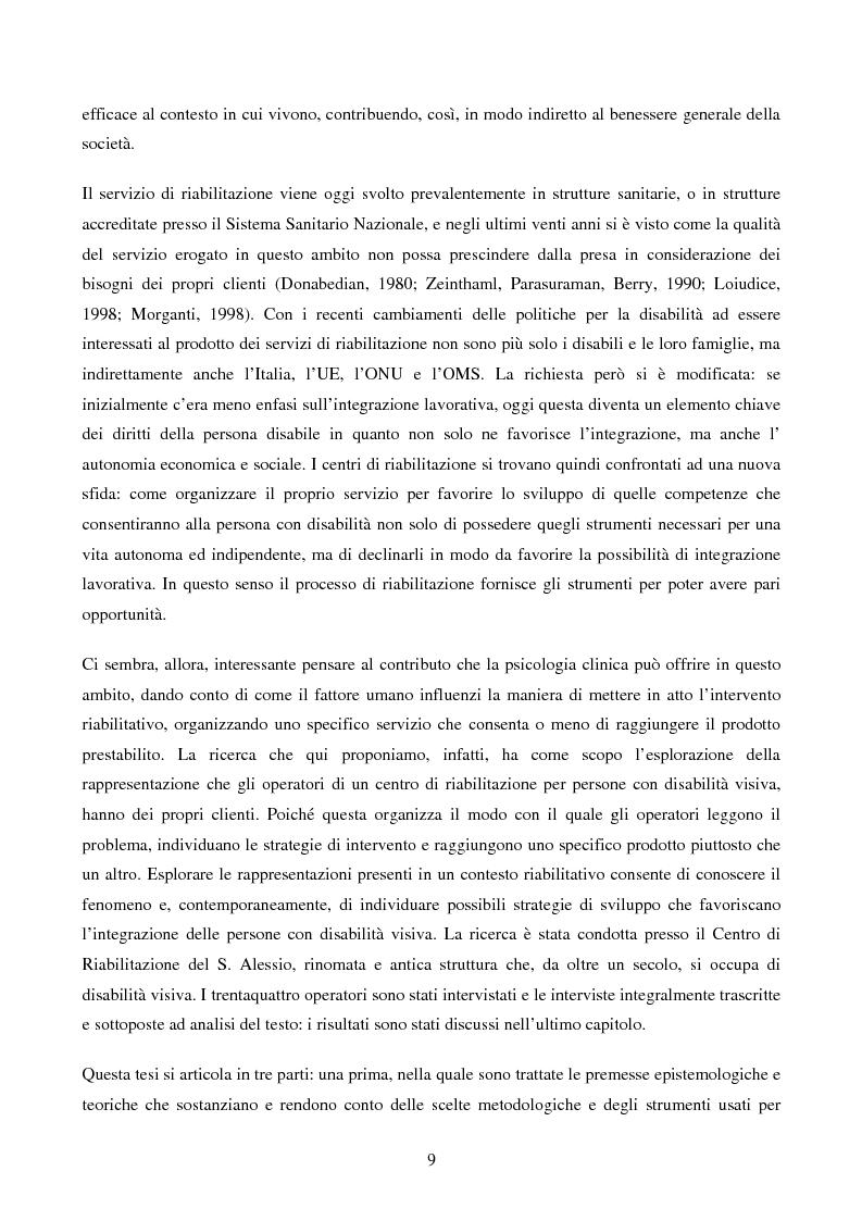 Anteprima della tesi: Disabilità e Integrazione Socio-Lavorativa -  Analisi della Rappresentazione del Cliente negli Operatori di un Centro di Riabilitazione per Persone con Disabilità Visiva, Pagina 4