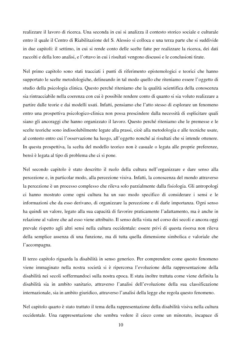 Anteprima della tesi: Disabilità e Integrazione Socio-Lavorativa -  Analisi della Rappresentazione del Cliente negli Operatori di un Centro di Riabilitazione per Persone con Disabilità Visiva, Pagina 5