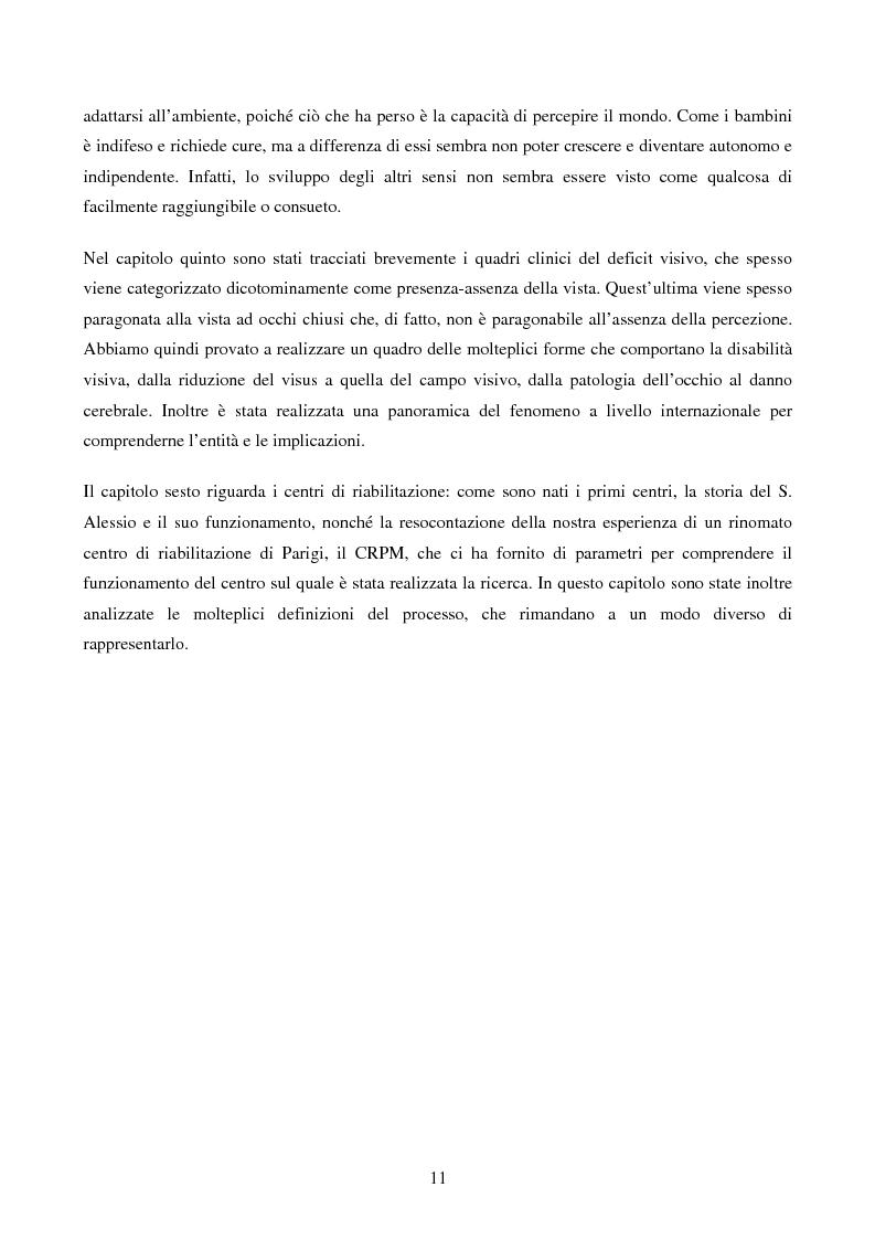 Anteprima della tesi: Disabilità e Integrazione Socio-Lavorativa -  Analisi della Rappresentazione del Cliente negli Operatori di un Centro di Riabilitazione per Persone con Disabilità Visiva, Pagina 6