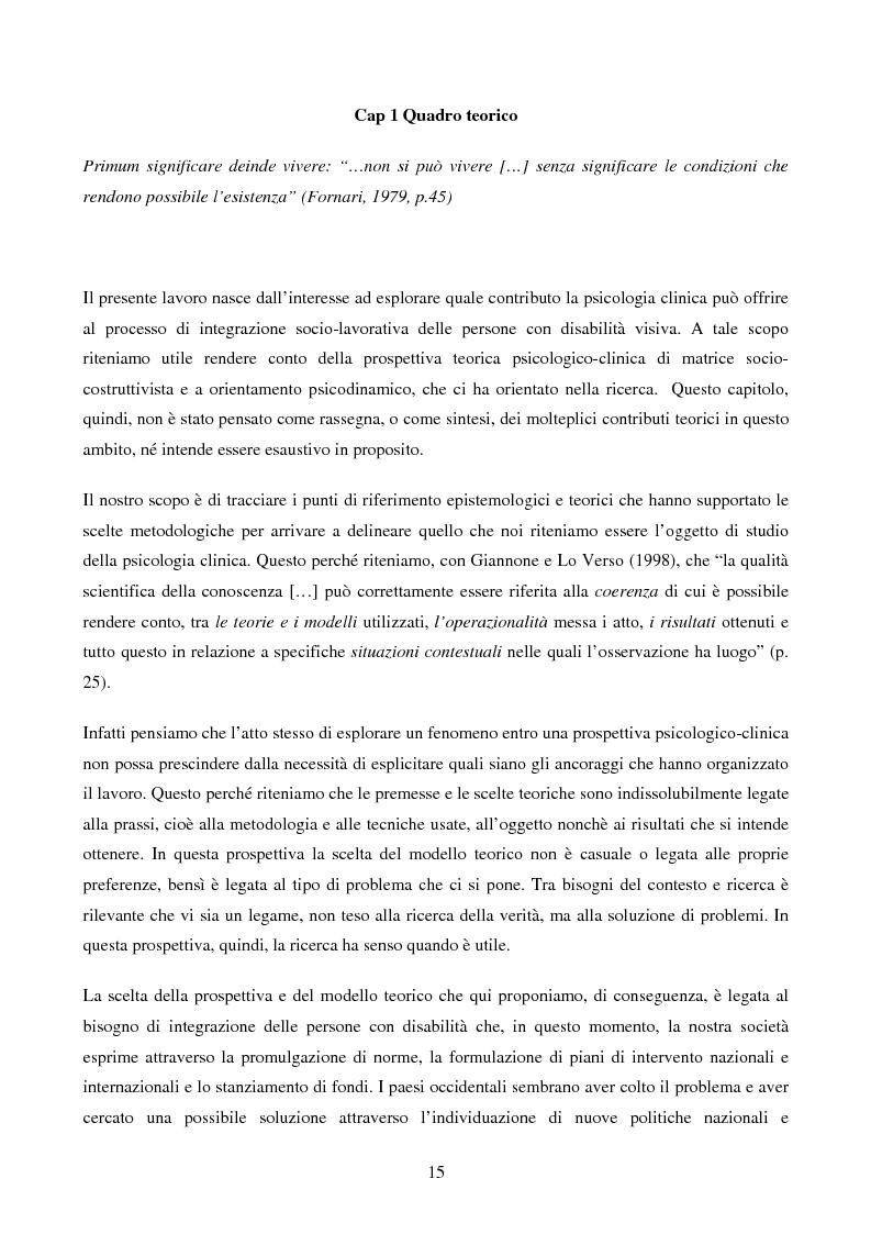 Anteprima della tesi: Disabilità e Integrazione Socio-Lavorativa -  Analisi della Rappresentazione del Cliente negli Operatori di un Centro di Riabilitazione per Persone con Disabilità Visiva, Pagina 7