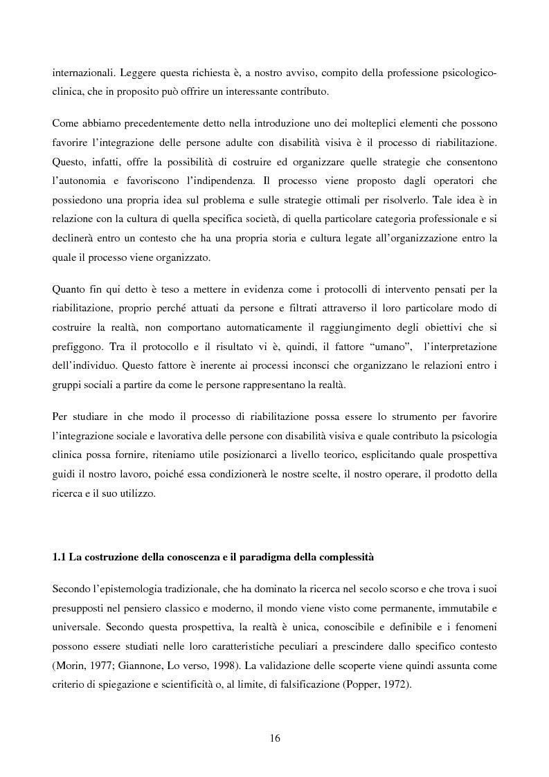Anteprima della tesi: Disabilità e Integrazione Socio-Lavorativa -  Analisi della Rappresentazione del Cliente negli Operatori di un Centro di Riabilitazione per Persone con Disabilità Visiva, Pagina 8
